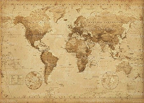 Price comparison product image Old World Map Edible Icing image Cake Toppers