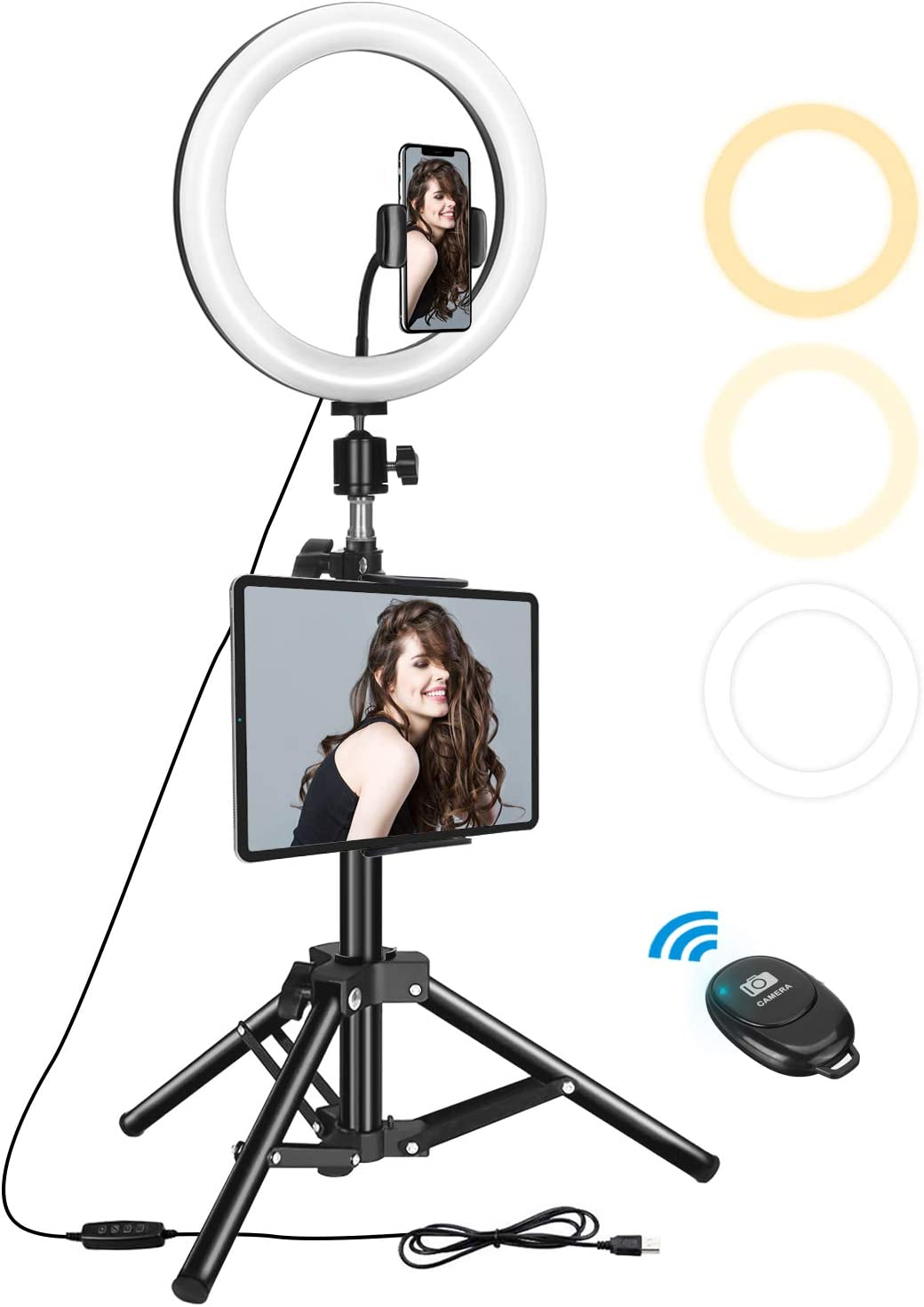 Dual Phone Holders 3 Light Modes Compatible with iPhone 10 Inch LED Selfie Ring Light for Video Conference /& Live Stream Samsung 10 Levels Pixel Etc Meifigno 10 Ring Light with Tripod Stand