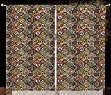 2 Panel Set Satin Window Drapes Kitchen Curtains,Moroccan Ethnic Mexican Ornaments with Abstract Artistic Old Fashioned Mandala Checkered Decorative Multicolor,for Bedroom Living Room Dorm Kitchen Caf