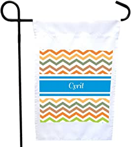 Rikki Knight Cyril Blue Chevron Name House or Garden Flag with 11 x 11-Inch Image, 12 x 18-Inch