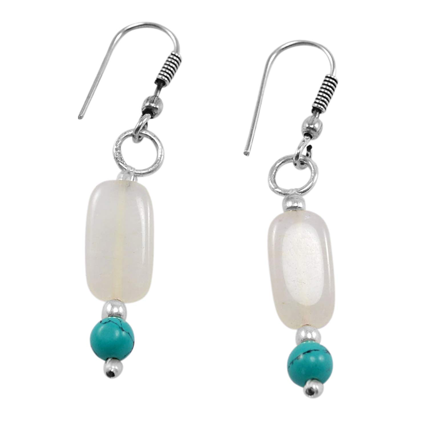 Saamarth Impex Turquoise /& White Quartz 925 Silver Plated Dangle Earring PG-130734