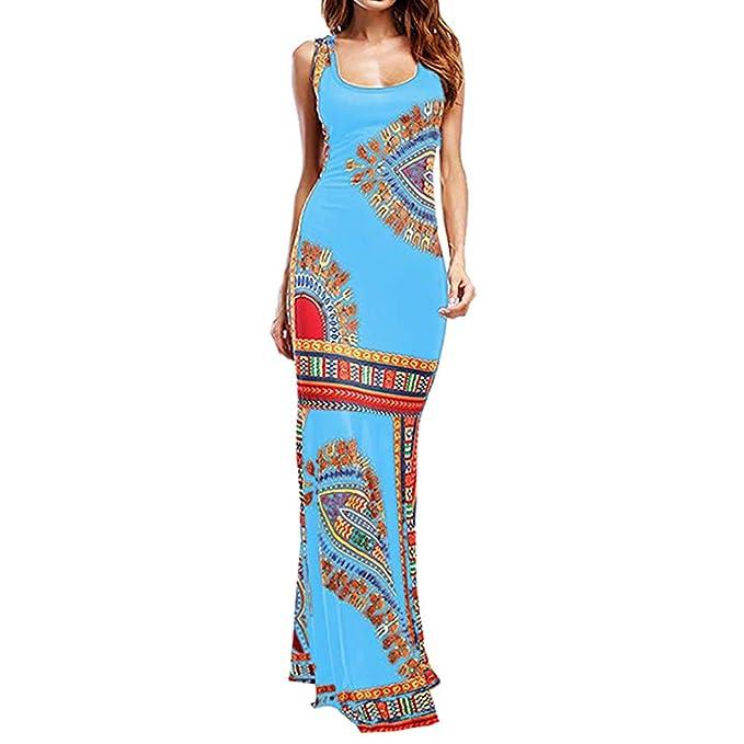 jieGREAT ☘, Vestido de cóctel de Noche Africano Largo sin Mangas ...