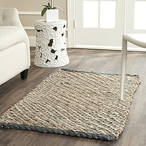 Safavieh Natural Fiber Collection NF454A Hand Woven Blue and Natural Jute Area Rug (3' x 5') (Area Rugs Natural Fiber)