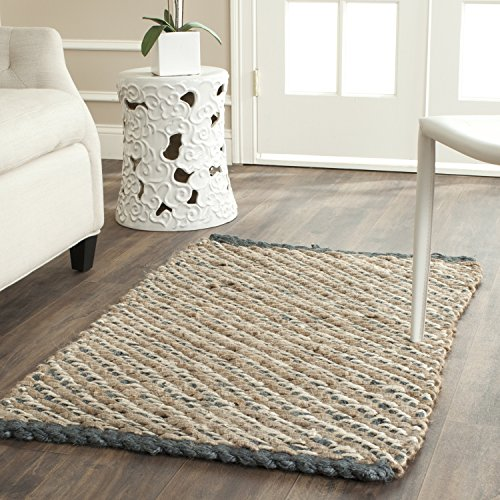 Safavieh Natural Fiber Collection NF454A Hand Woven Blue and Natural Jute Area Rug (2'6
