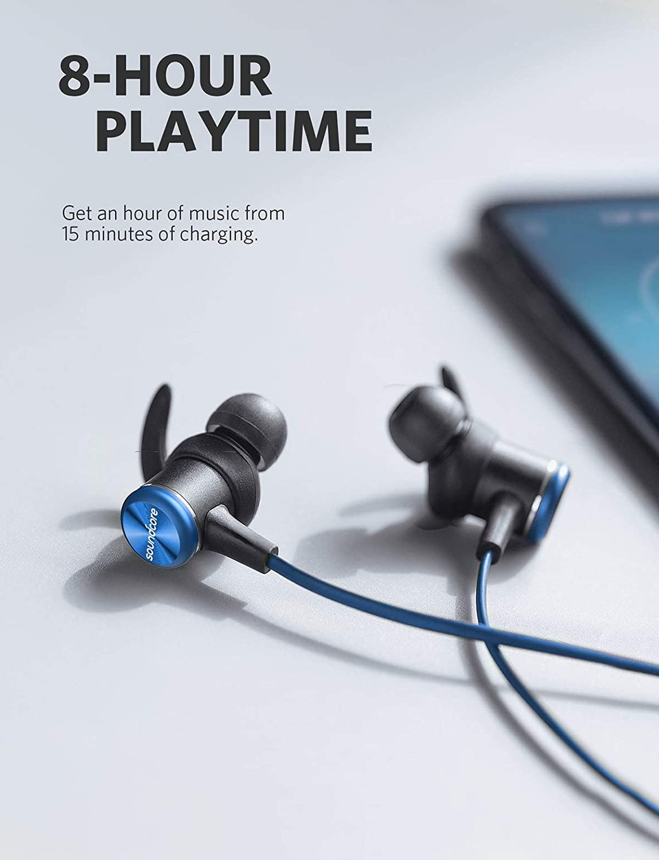 Soundcore Spirit Bluetooth Kopfh/örer f/ür Sport und Workout In Ear Kabellose Kopfh/örer mit 8 Stunden Akkulaufzeit IPX7 SweatGuard Technologie Schwarz