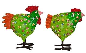 dekorativer Deko-Hahn Deko-Huhn Garten-Deko Metall bemalt ca 44 cm hoch grün