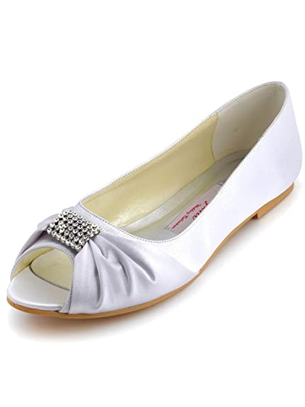 ad98263fdae59c Elegantpark EP2053 White Women s Satin Peep Toe Flats Rhinestones Wedding  Flats ...