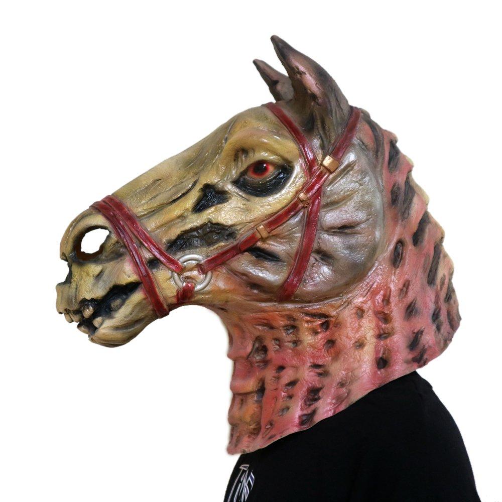 COCOSPLAY Zombie Horse Head Mask novità Maschere di Teste di Animali Halloween Gangnam Style Dance Latex Rubber Latex Naturale Taglia Unica Regalo, Multicolour3pcs