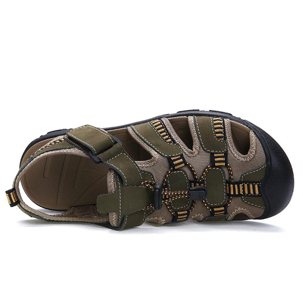 ZheRen Sandalen und Hausschuhe, Hausschuhe, Hausschuhe, Herren Ochsenhaut Sommer Strand Sandalen, atmungsaktiv Magic Tape Fuß bis Größe 48EU  e07f0e