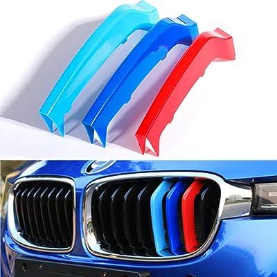 TOPGRIL M-Colored Stripe Grille Insert Trims M Sport M-Performance Grille Insert Trim Strips For 2013-2020 BMW F30 F31 3 Series 316i 318i 320i 328i 330i 335i 340i (8-Beams ONLY, Not for 11 Beams): Automotive