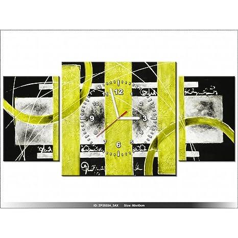 Art-Gallery XXL – 80 x 40 cm – amarillo abstracto – Reloj de pared