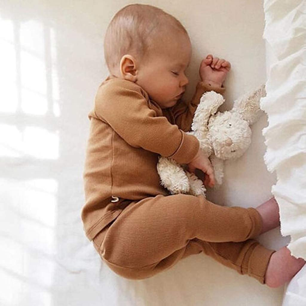 Baby Boys Girls Pajamas Set Long Sleeve Top and Pants Solid Pjs Sleepwear Toddler Infant Unisex Outfit Clothing Set Home Wear