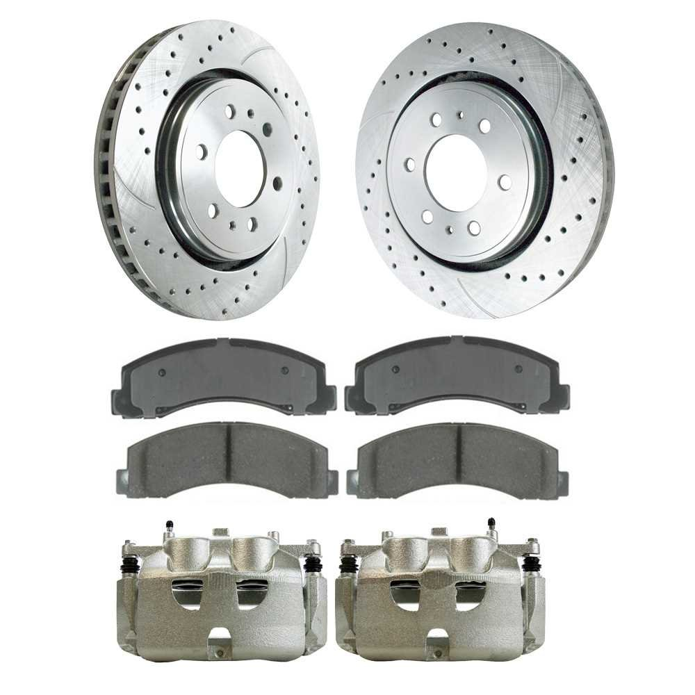 Prime Choice Auto Parts SRBRPKG00043 Front Performance Silver Rotors Calipers and Ceramic Pads Set