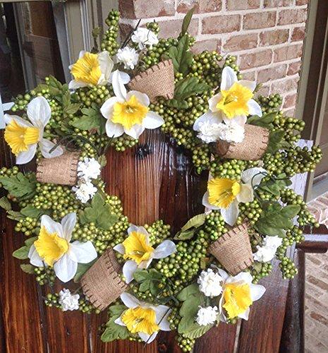 "Flora Decor Blooming Daffodil Wreath - 24"""