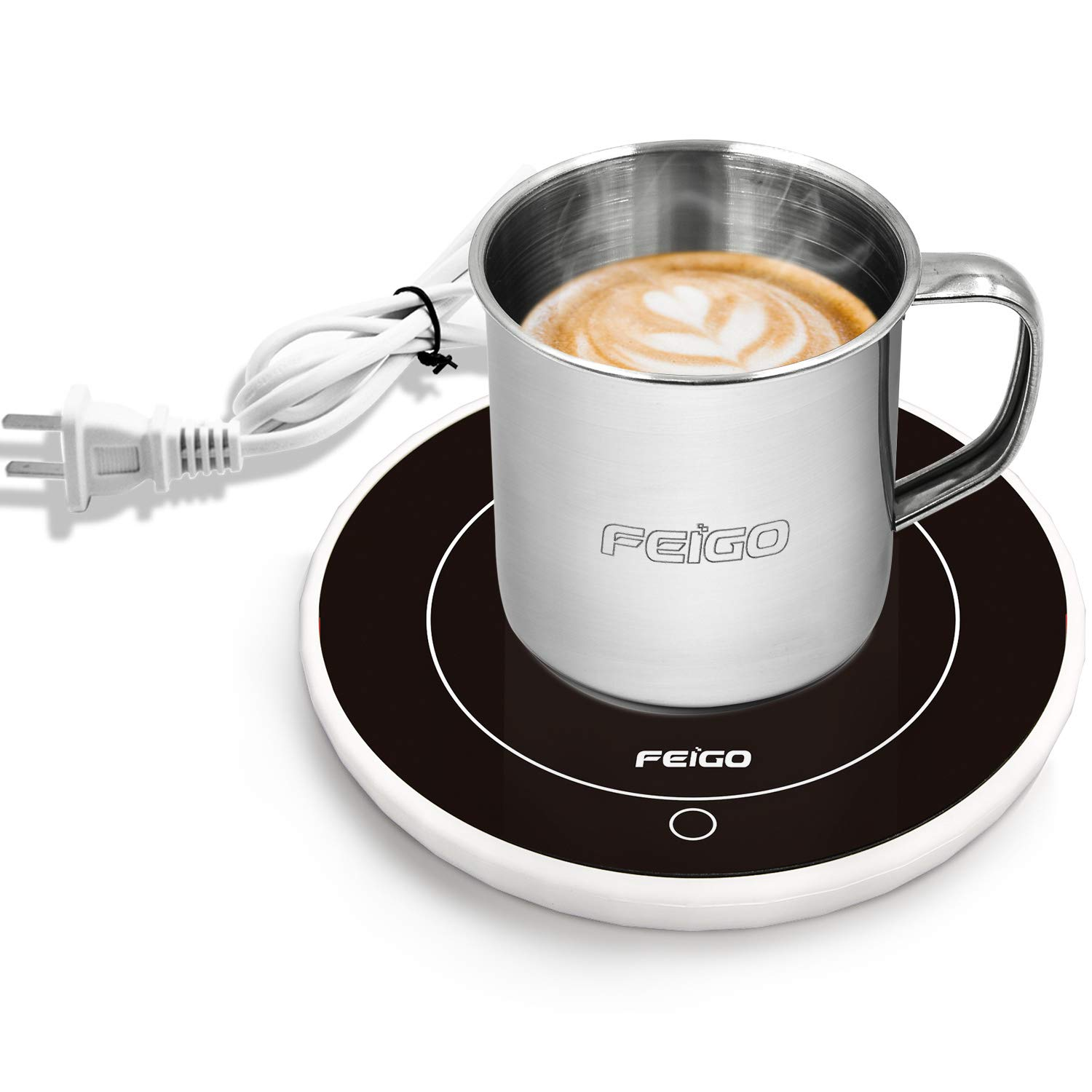 Zoiibuy Coffee Mug Warmer with Stainless Steel Cup, Tea Milk Electric Beverage Warmer Plate Cup Heater for Home Office, 8 hours Auto Shut Off, Gravity Sensor Switch, up to 69.5℃/157℉ (White+Cup)