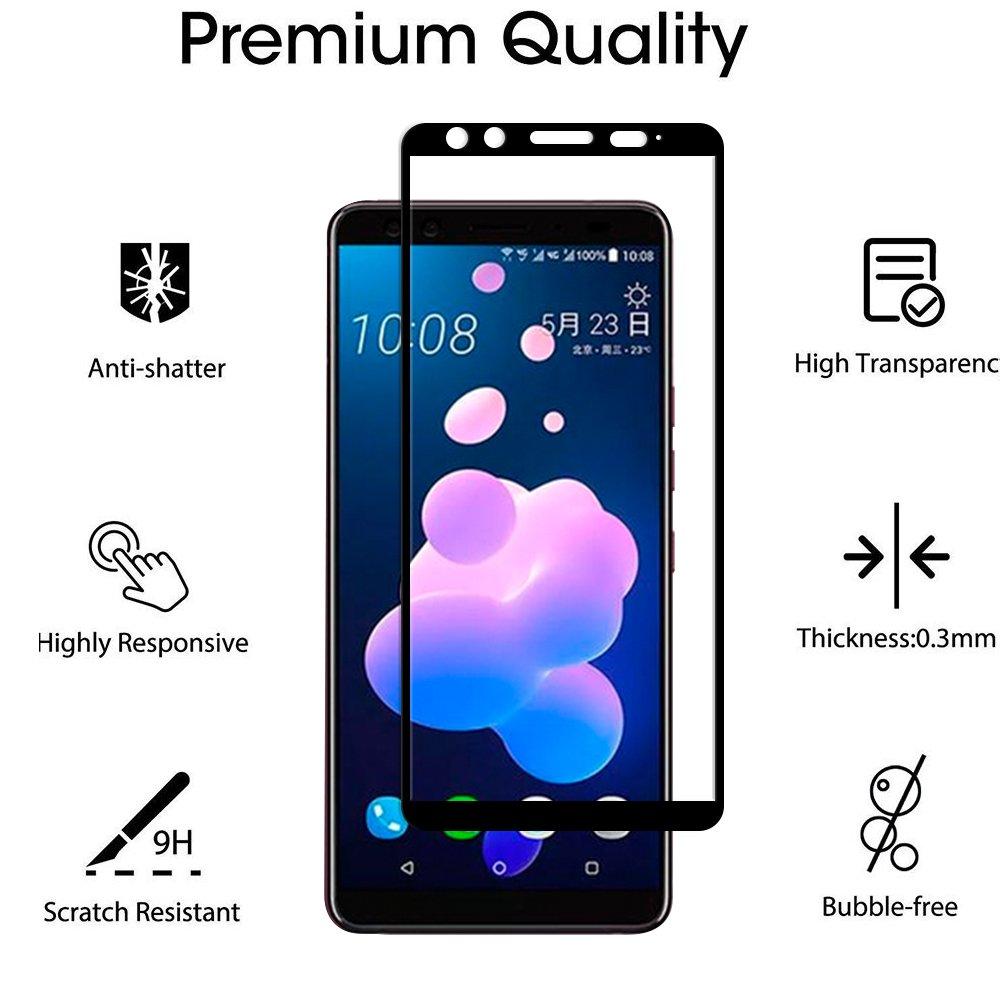 GEEMEE HTC U12 Plus Protecteur D/écran Noir Bulle pour HTC U12 Plus Verre Tremp/é Film Duret/é 9H Haute Sensibilit/é Empreinte Digitale Anti