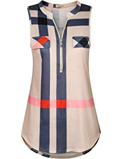 9f37095ac2e Cyanstyle Women s V Neck Zip Up Casual Tank Top Flaps at Chest Sleeveless  Tunic