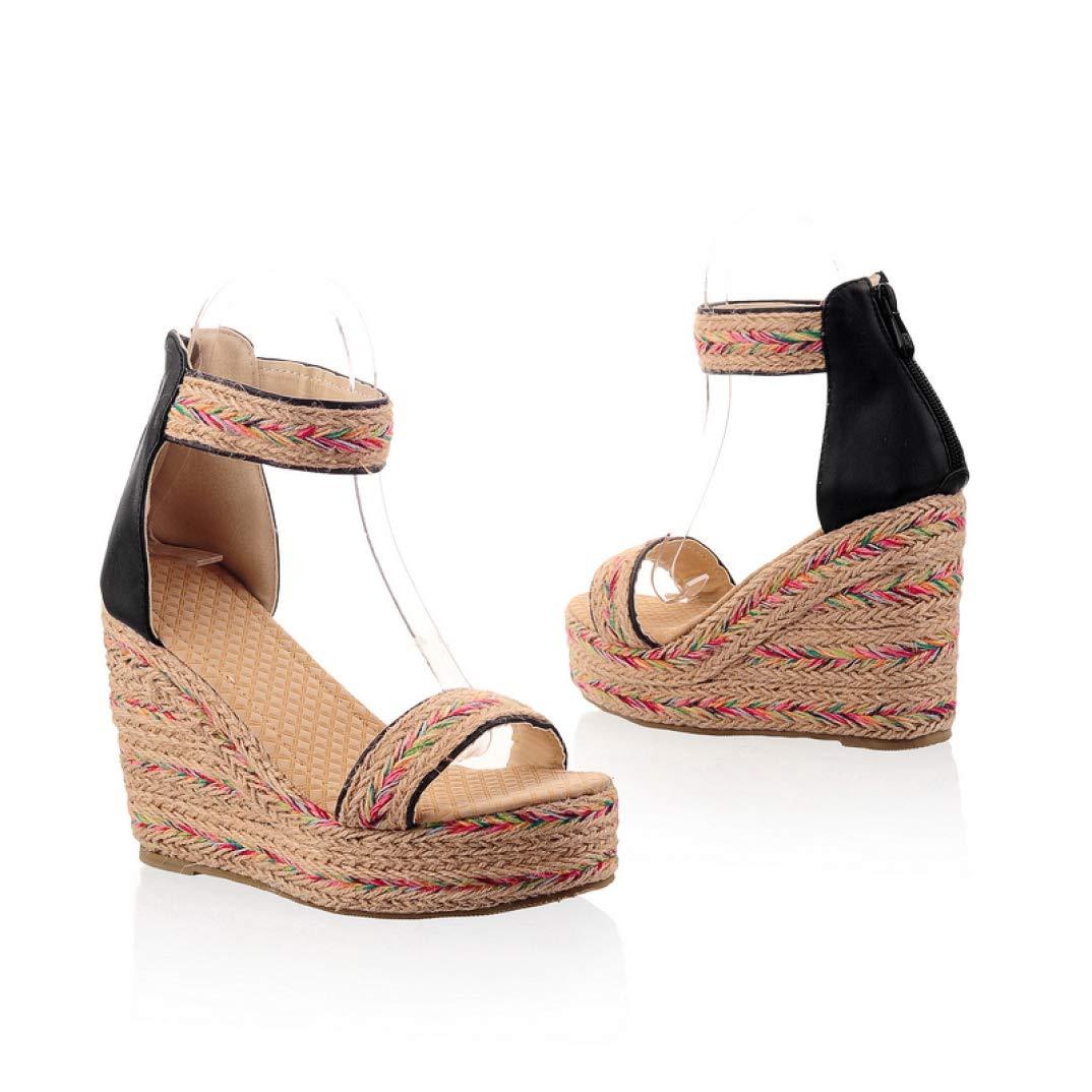 Black MEIZOKEN Women's Fashion Weave Platform Wedge Sandals Casual Open Toe Non-Slip shoes Ankle Strap Zipper Espadrilles Sandal