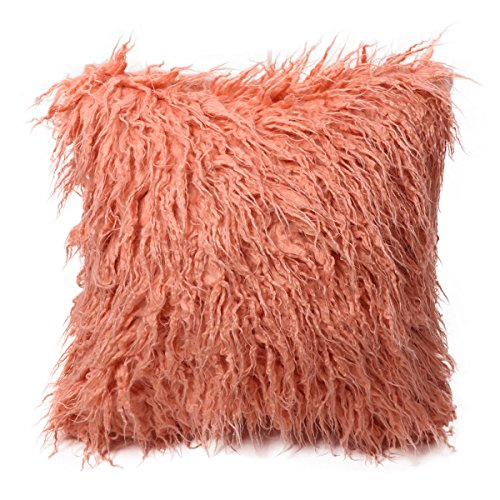CHICTRY Luxury Faux Fur Throw Pillow Cover Super Soft Plush Decorative Cushion Case 18 x 18 Inches Standard Size for Sofa Bedroom Car Coral Pink 18.0 x 18.0 inch