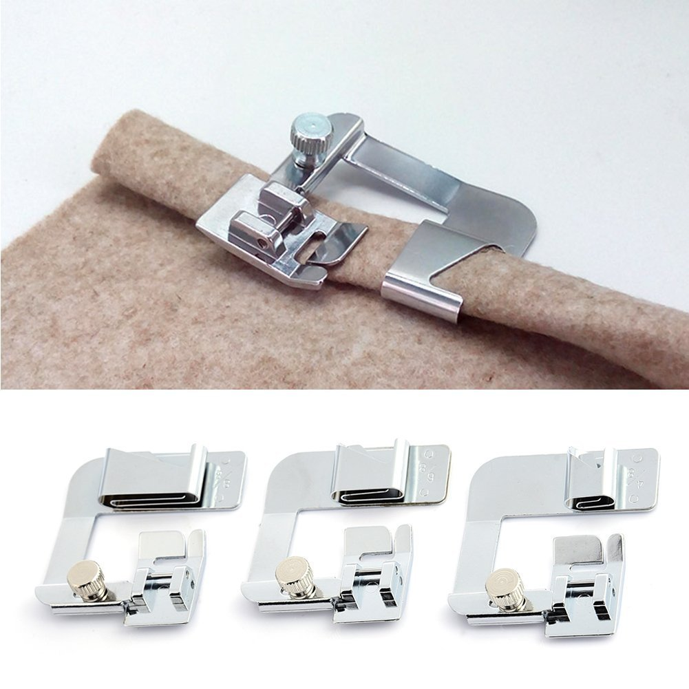 Sewing Machine Presser Foot Set, XGZ 3pcs Rolled Hem Foot Sewing Machine Parts Household Multi Function Presser Foot for Wrapper and hemming