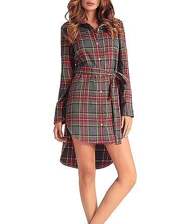 b49229427ab Sematomala Women s Casual High Low Hem Long Sleeve Checkered Blouse Belted  Dresses Plaid Tunic Shirt Midi