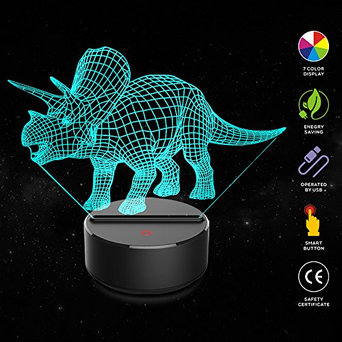 3D Night Light Dinosaur Triceratops 3D Lamp Optical Illusion Nightlights Touch Switch Bedside Lamp 7 Colors Changing Led Lamps Birthday Gifts For Girls Kids Children Boys Adults  N01 Triceratops