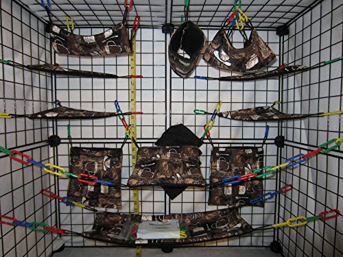 17 Piece Sugar Glider Cage Set 'Coffee' Pattern (Sugar Glider Bedding)
