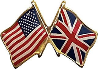 product image for Gettysburg Flag Works United Kingdom & U.S. Crossed Flags Double Waving Friendship Lapel Pin - Made in The USA