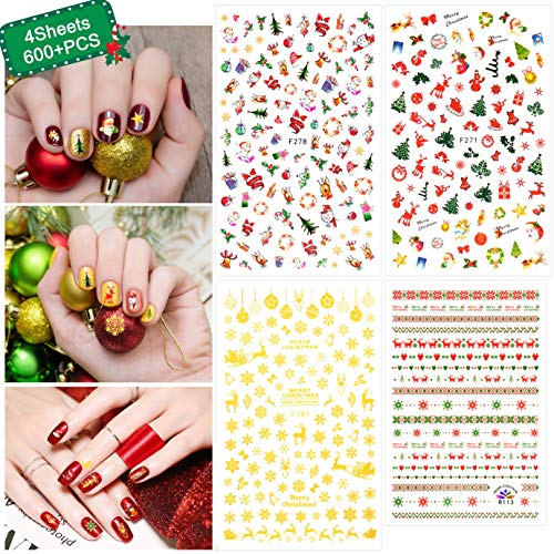 INFILILA Christmas Nail Art Stickers Christmas Nail Decals Self-Adhesive Stickers For Women Kids DIY Decoration Christmas Nail Stickers with Xmas Tree Santa Snowman Snowflake Pattern 4Sheets/600+PCS (Christmas For Kids Art Nail)
