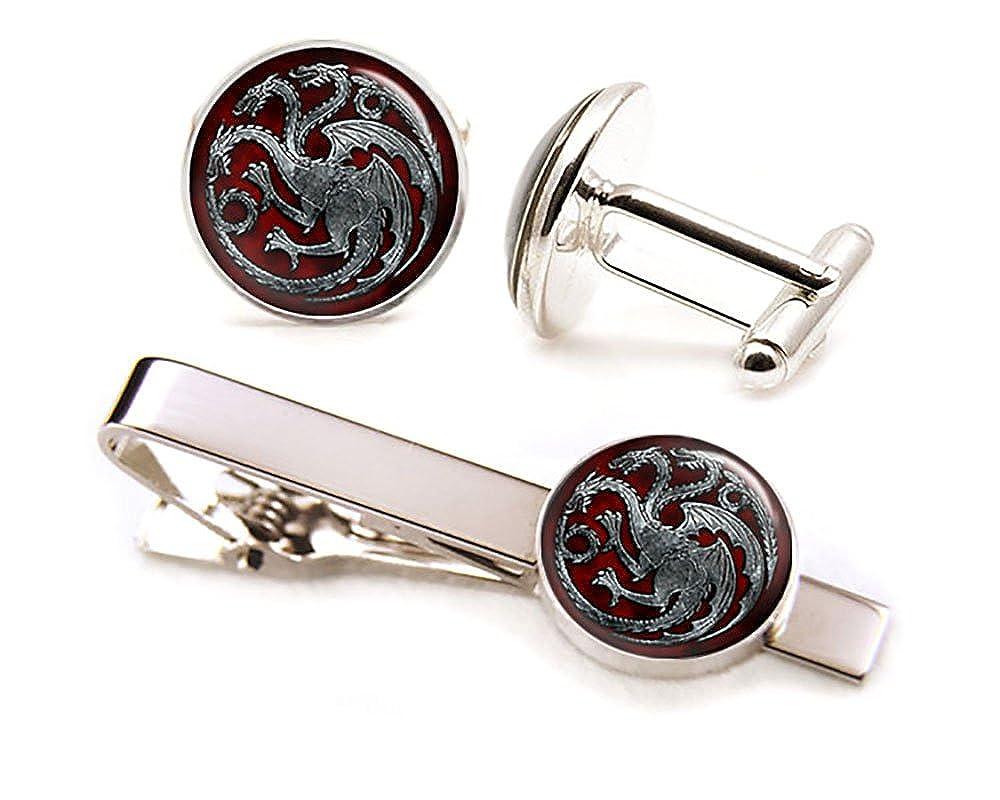 SharedImagination Targaryen Cufflinks, Game of Thrones Tie Clip, Dragon Jewelry, Game of Thrones Wedding Party Gifts, Groomsmen Gift Targaryen Tie Clip Game of Thrones Cufflinks