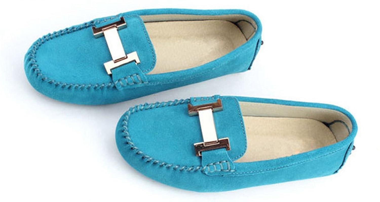 Minitoo mujer de Ronda Toe Elegante metal Suede Loafers Flats zapatos de conducción, color Rosa, talla 36.5