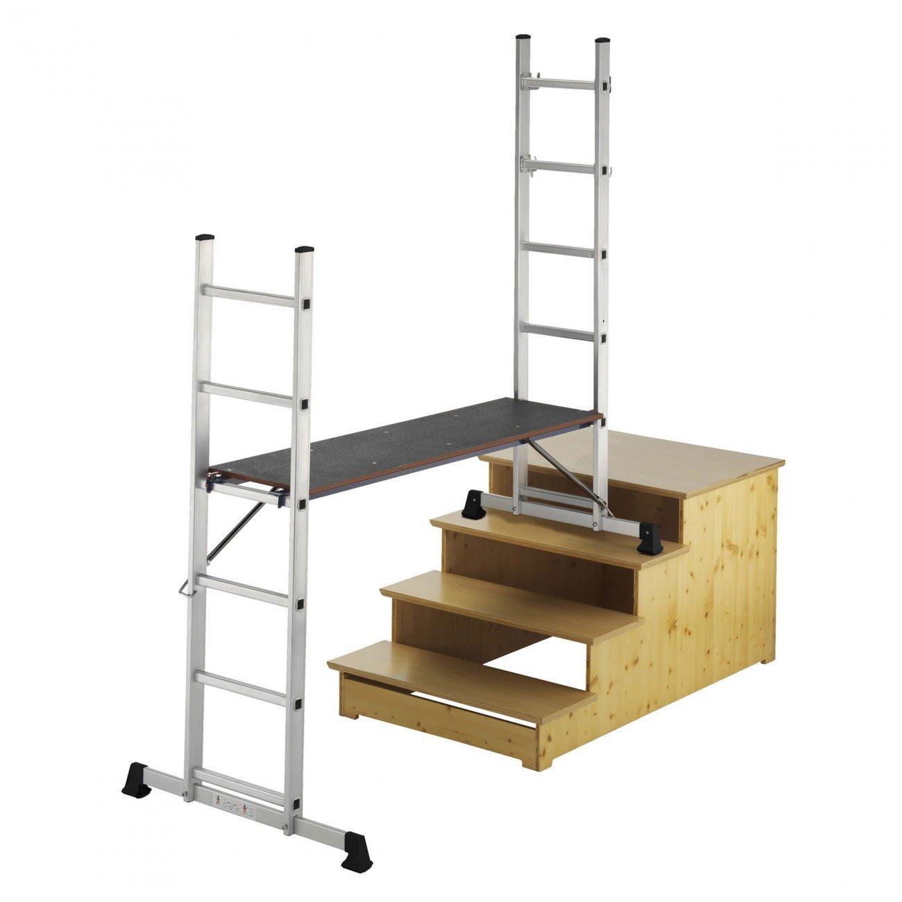 MAXCRAFT Plataforma de Trabajo Multipropó sito Escalerilla Escalera Combinació n de Aluminio y Andamio Peldañ os Escala Plegable
