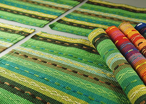 Ivenf Set of 6 100% Handmade Woven Braided Ribbed Cotton Table Placemats Rainbow Green 12 x 18