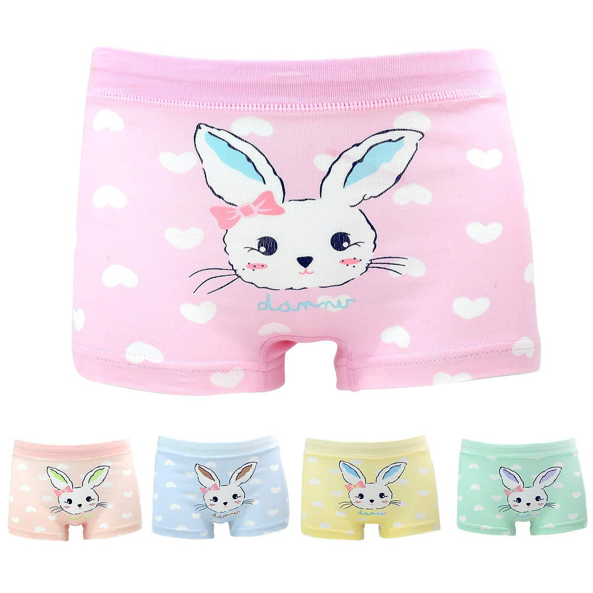 Little Girls' Rabbit Panties Bunny Boyshort Pink Undies 5 Pack Boxer Briefs for Kids