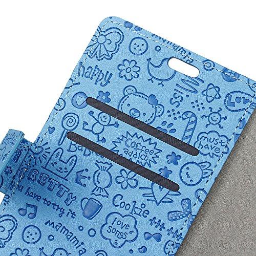 Lusee® PU Caso de cuero sintético Funda para ZTE Blade V8 lite 5.0 Pulgada Cubierta con funda de silicona botón pequeña bruja negro pequeña bruja azul