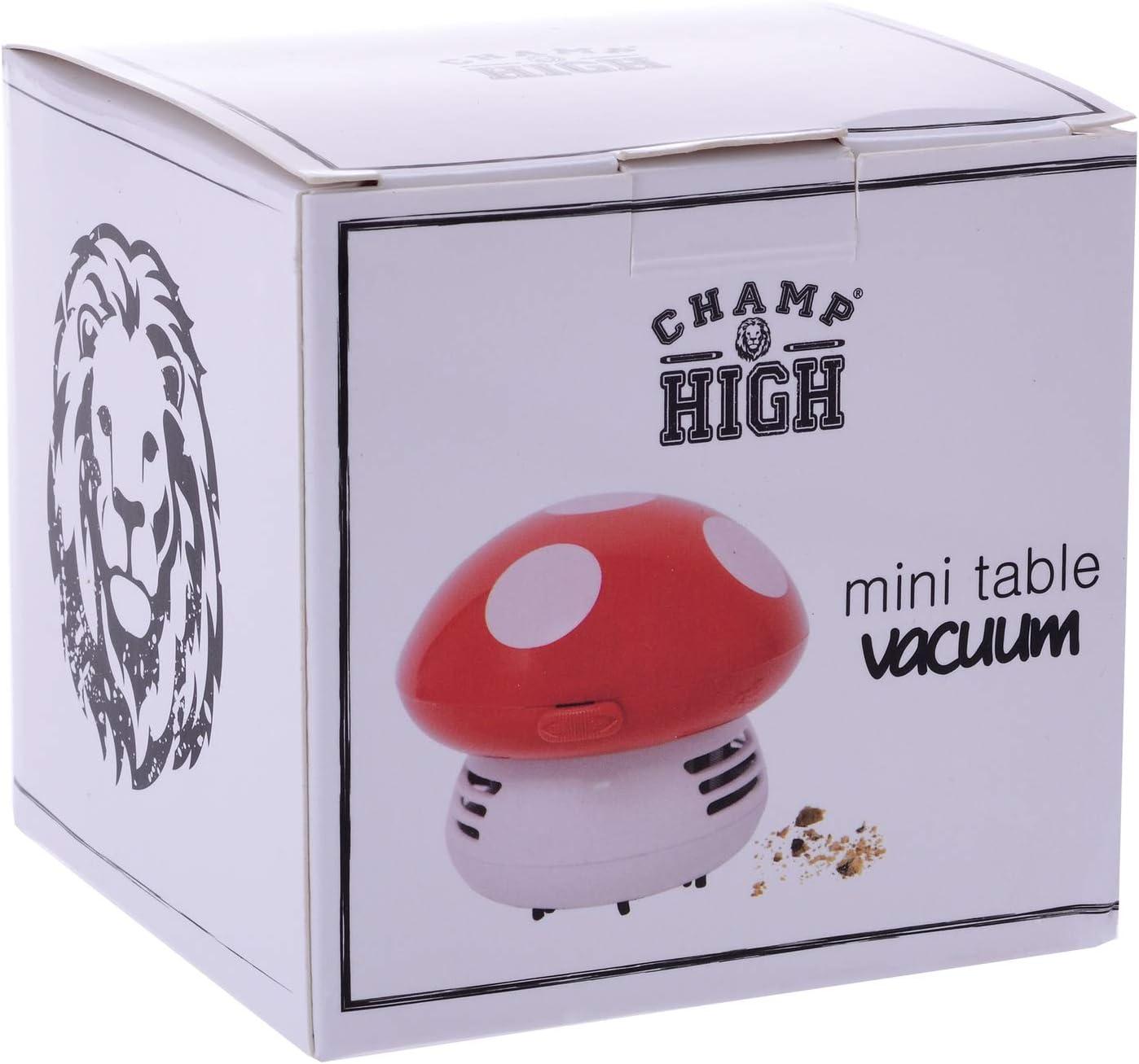CHAMP HIGH - Mini Aspirador de Mesa Mushroom - Lindo accesorio para limpiar tu mesa - También disponible en púrpura y blanco - Caja de regalo - - Rojo: Amazon.es: Hogar