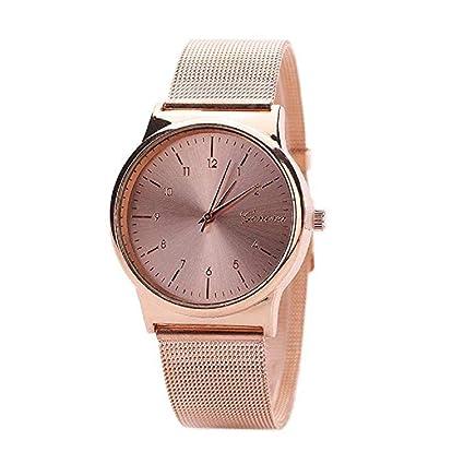 Scpink Hombre Mujer Relojes, Reloj Analógico de Cuarzo para Mujer,Correa de Acero Inoxidable