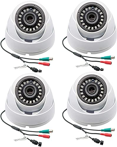 Taber 1080p Dome Camera 4pc Set, 2mp TVI AHD CVI 960H 4 in 1, 3.6mm Wide Angel Lens, Night Version up to 65ft, Surveillance Cameras