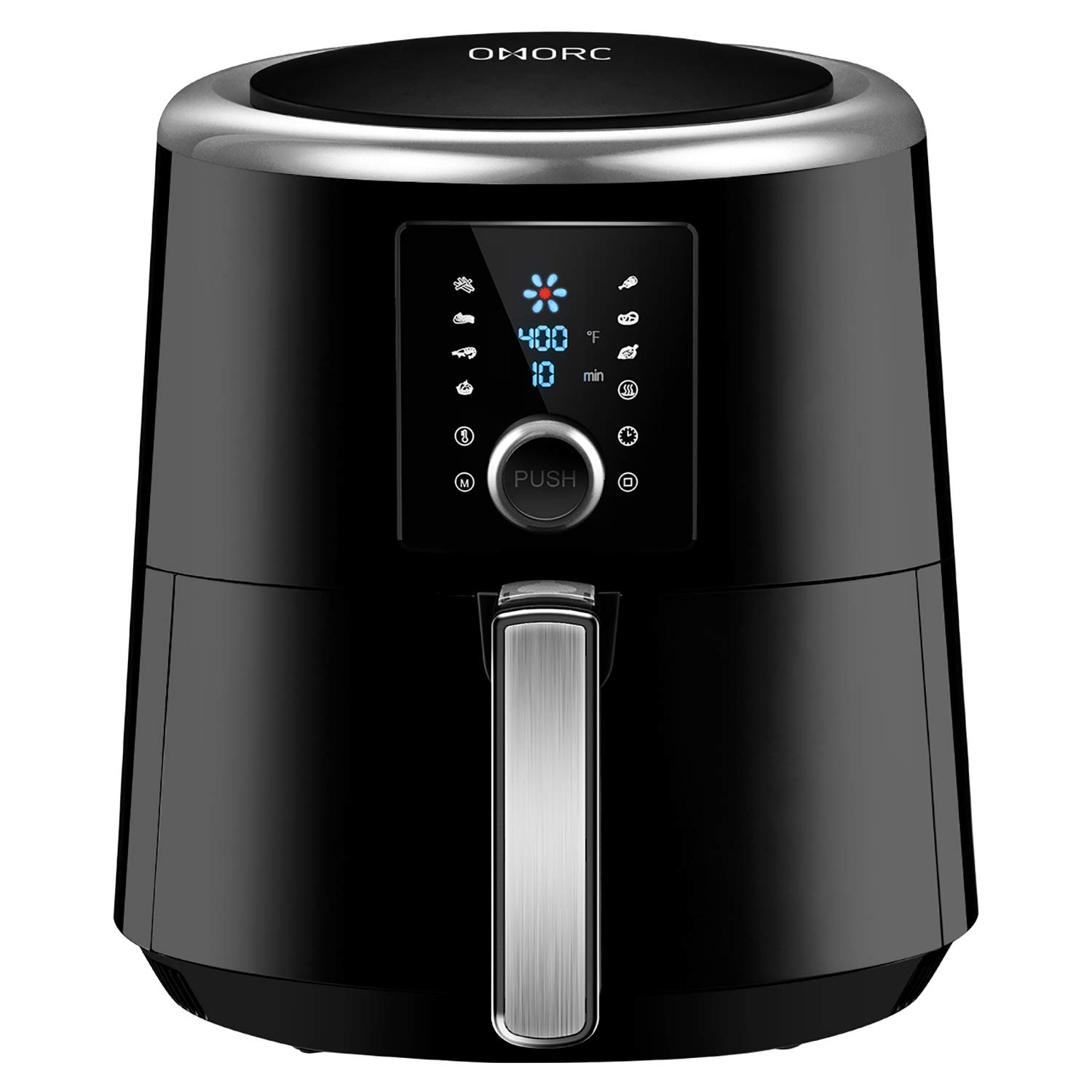 OMORC 6 quart Air Fryer, Air Fryers, Instant Temp/Time Control (for Wet Finger) & LED Touchscreen, 1800W Presets for Air Frying/Roast/Bake/Keep Warm, Dishwasher Safe, Nonstick, 2-Year Warranty(ME122)