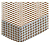 SheetWorld Fitted Portable/Mini Crib Sheet - Beige Gingham Check - Made In USA