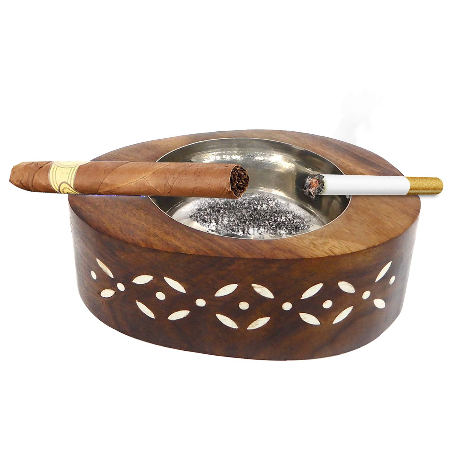 WhopperOnline Decorative Hand carved Wooden Brass Inlay Design Brown Color Oval Shape Ashtray Cigarette/Cigar Holder for Men & Women, Thanksgiving Diwali And Christmas Day Present for loved ones