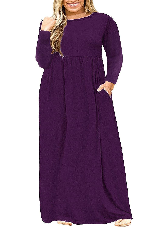 Bigyonger Womens Plus Size Dresses Short Sleeve Loose Plain Casual Long  Maxi Dress with Pockets