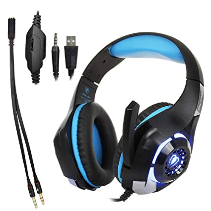 LINAN Auriculares para juegos con micrófono y luz LED para computadora portátil, teléfono celular,