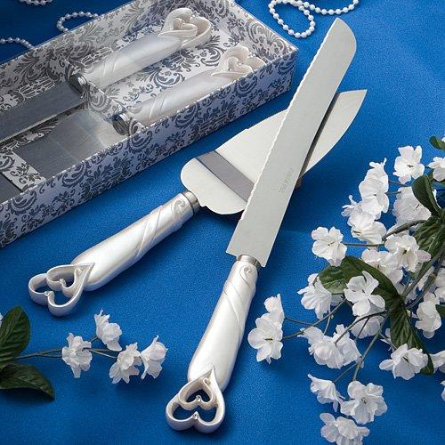 Interlocking Hearts Design Cake Knife Server Set - Package of 12