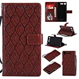 Sony Xperia XZ1 Case, Lomogo Leather Wallet Case with Kickstand Card Holder Shockproof Flip Case Cover for Sony Xperia XZ1 - LOYYO23537 Brown
