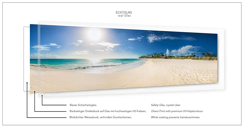 Leinwandbild in Galerie Qualit/ät Leinwand Panoramabild aufgezogen auf Naturholz Keilrahmen als Kunst Wandbild Bild Sonnenuntergang am karibischen Sandstrand Insel Aruba // Karibik
