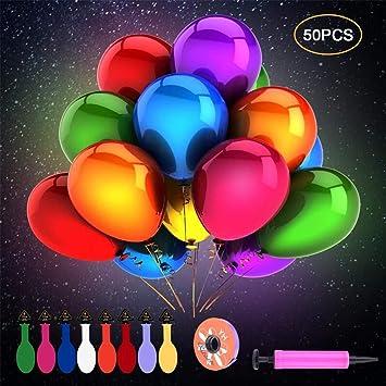 50 Piezas Globos de LED Colores Luces para Decoración de Boda Habitación Fiesta Partido Comunión Cumpleaños Navidad Reunión Ceremonia