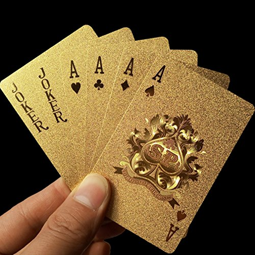 Brand Durable Waterproof Plastic Golden Playing Card Deck Gold Foil Poker Set Magic Card Dubai 24K Plated Poker Table - Plated Poker