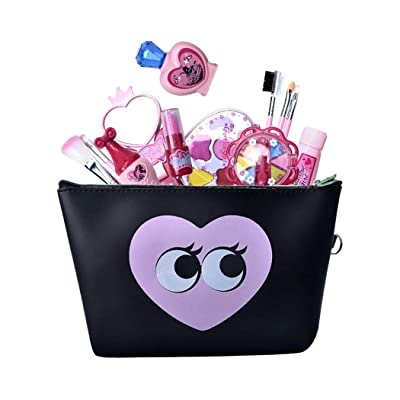 oineke Durable Fashion Girls Non-Toxic Washable Simulation Layered Makeup Set Toy Dresses Black Purple: Clothing