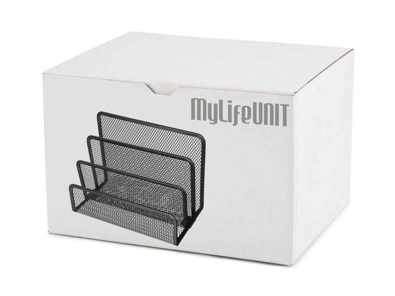 MyLifeUNIT Mesh Letter Holder, 3 Compartment Desktop Letter Paper Stacking Sorter Holder Collection